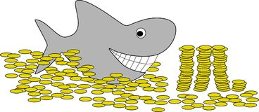 Swimming in the money. An Illustration of a funny shark swimming in the money Royalty Free Illustration