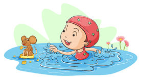 Swimming with a mouse Stock Photos