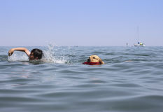 Swimming with my dog Stock Photo