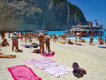 Swimming at Navagio Beach, Zakynthos, Greece Royalty Free Stock Photos