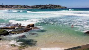 Swimming Near Rocks, Bondi Beach, Sydney, Australia. stock video footage