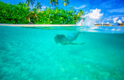 Swimming near tropical island Stock Image