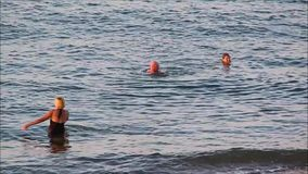 Swimming in the ocean stock footage