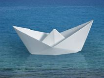 Swimming paper boat Royalty Free Stock Photos