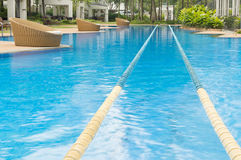 Swimming path in swimming pool. Swimming path in beautiful crystal cline swimming pool Royalty Free Stock Photos