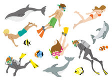 Swimming people and Marine life set Stock Photo