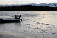 Swimming pier on winter Stock Photo