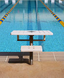 Swimming Pool. The parallel lanes of a swimming pool recede into the background from the jumping board Stock Image