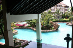 Swimming Pool. A fancy swimming pool in a resort in Sabah, Malaysia Royalty Free Stock Images