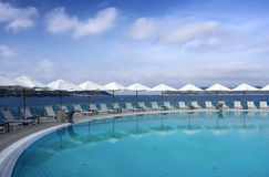 Swimming pool. In a hotel in Croatia Royalty Free Stock Images