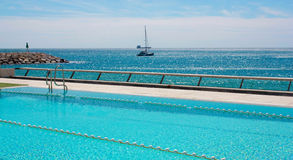 Swimming pool. Swimming pool with the sea view Royalty Free Stock Image