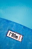 Swimming pool. With sign telling how deep the pool is Royalty Free Stock Image