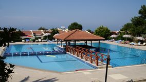 Swimming pool. Of a hotel in Cyprus royalty free stock photo