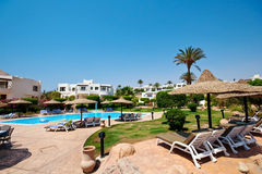 Swimming pool. And relax area at resort in Egypt Stock Images