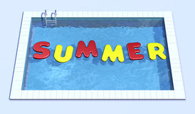 Swimming pool. Top view of swimming pool with inflatable pillows that form the word summer (3d render Stock Illustration
