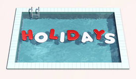 Swimming pool. Top view of swimming pool with inflatable pillows that form the word holidays (3d render Stock Images