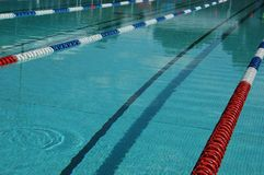 Swimming pool. 50m outdoor swimming pool with lane rope ready for competition Stock Image