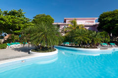 Swimming pool. Tropical resort with swimming pool in Mexico Royalty Free Stock Photography