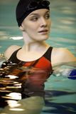 In the swimming-pool. Portrait of sporting woman in the swimming-pool Royalty Free Stock Photo