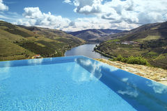 Swimming pool. Over douro river Royalty Free Stock Photos
