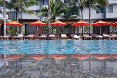 Swimming pool. Tropical resort at swimming pool Royalty Free Stock Photography
