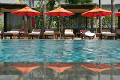 Swimming pool. Tropical resort at swimming pool Royalty Free Stock Images