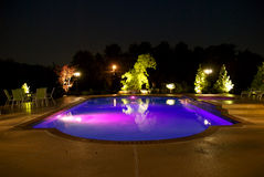 Swimming Pool. A night shot of a private residential swimming pool Stock Images