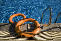 Swimming pool. Two buoys in the swimming pool. Safety and protection Stock Photos