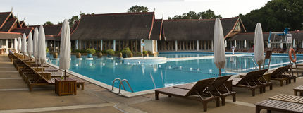 Swimming Pool. Panoramic picture of swimming pool before the guests arrive Stock Photo