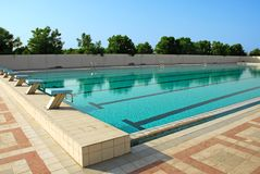 Swimming Pool. An Outdoor swimming pool in Sharjah Stock Images