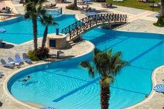 Swimming pool. Outdoor swimming pool. Cyprus Stock Photo