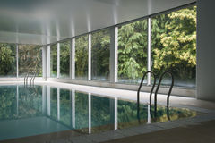 Swimming pool. Indoor swimming pool surrounded by leafy trees in an idyllic landscape Royalty Free Stock Images
