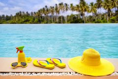 Pool and beach items flat lay. Summer vacation. Stock Images