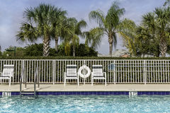 Swimming pool against palms in Stock Images
