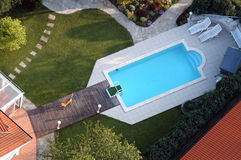 Swimming pool from the air. Air view of a swimming pool Stock Photography