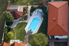 Swimming pool from the air Royalty Free Stock Image