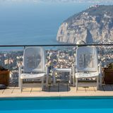 Swimming pool on the Amalfi Coast with views of the Gulf of Naples. Sorrento. Italy Stock Images