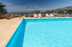 Swimming pool on the Amalfi Coast with views of the Gulf of Naples and Vesuvius. Sorrento. Italy stock photo