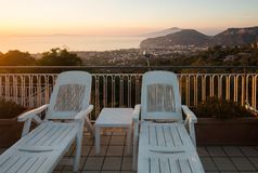 Swimming pool on the Amalfi Coast with views of the Gulf of Naples and Vesuvius. Sorrento. Italy stock images