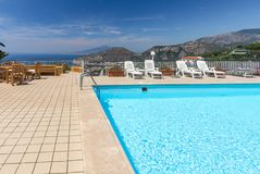 Swimming pool on the Amalfi Coast with views of the Gulf of Naples and Vesuvius. Sorrento. Italy stock photography