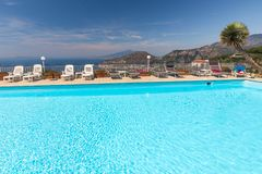 Swimming pool on the Amalfi Coast with views of the Gulf of Naples and Vesuvius. Sorrento. Italy Royalty Free Stock Image