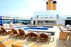 Swimming pool area at cruise ship Royalty Free Stock Photos