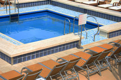 Swimming pool area at cruise ship Royalty Free Stock Photo