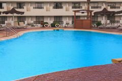 Swimming pool area in the hotel. Relax, vacation concept stock photo