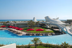 Swimming pool area at luxury Turkish resort Stock Images