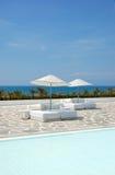 Swimming pool area at ultra modern luxury hotel Stock Photo