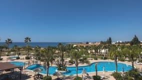 Swimming pool areaon Cyprus Stock Photo