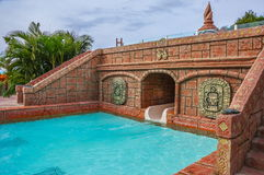Swimming pool with asian architecture in auqa park in Tenerife, Spain Royalty Free Stock Photos