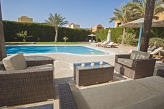 Free Swimming Pool At A Luxury Tropical Holiday Villa Royalty Free Stock Photos - 109146548
