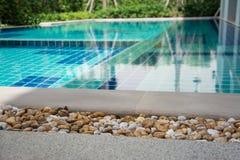 Swimming pool in backyard. Residential swimming pool in backyard Stock Photos